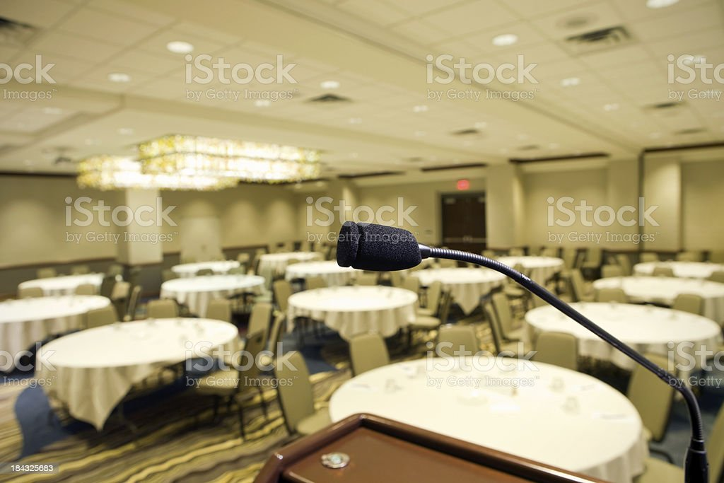 Microphone at Podium in Hotel Convention Room stock photo