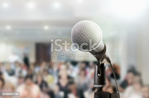 istock Microphone awaits public speaker at seminar 948890290