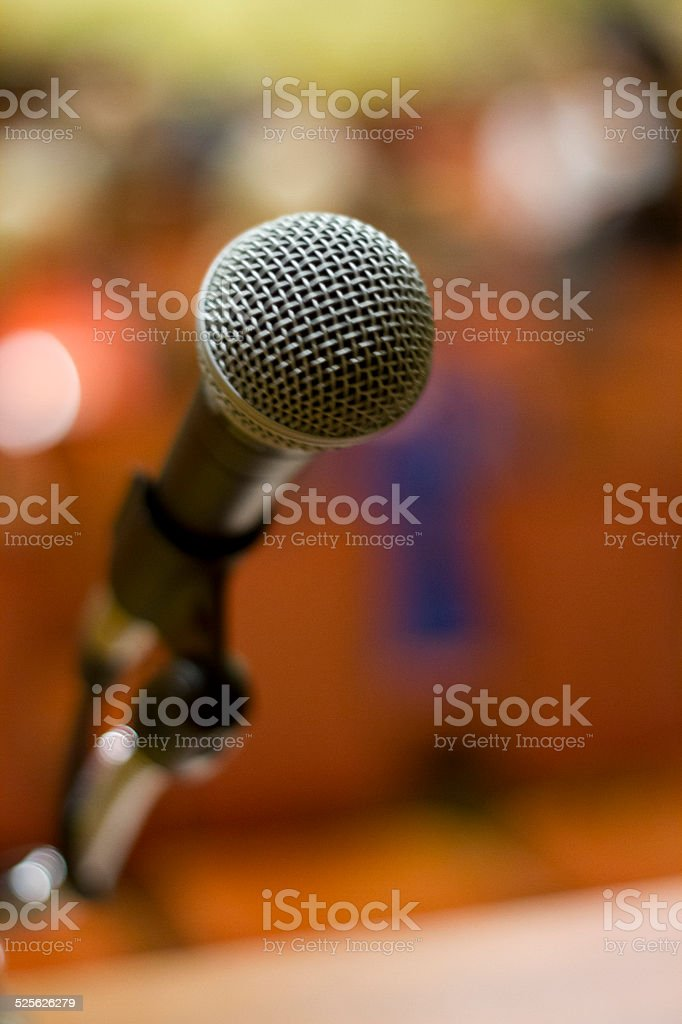 Microphone Before a Speech stock photo