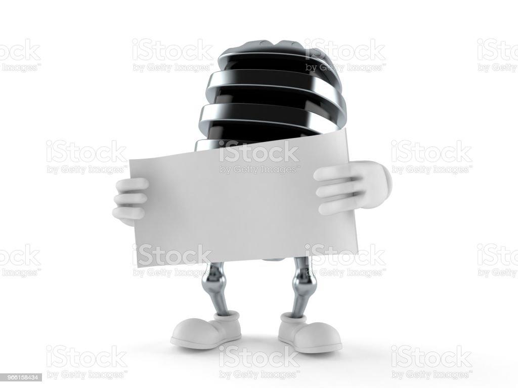 Microphone character holding blank sheet of paper - Стоковые фото Аудиооборудование роялти-фри