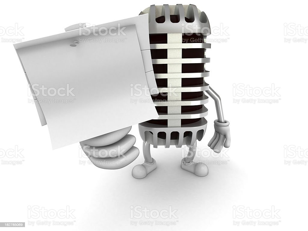Microphone character royalty-free stock photo