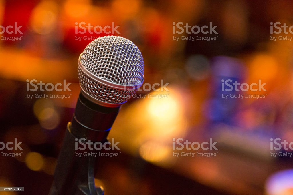 Microphone Close up. A pub. Bar. A restaurant. Classical music. Music