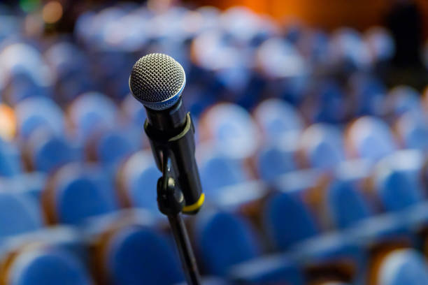 Microphone close up at the conference Microphone close up at the conference hall debate stock pictures, royalty-free photos & images