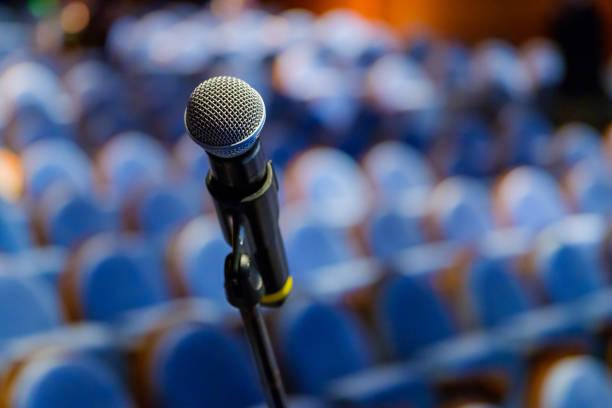microphone close up at the conference - debate стоковые фото и изображения