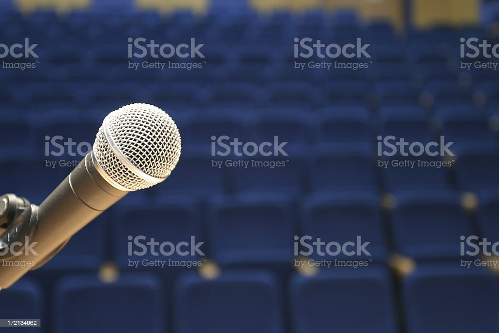 microphone closeup on empty conference hall royalty-free stock photo