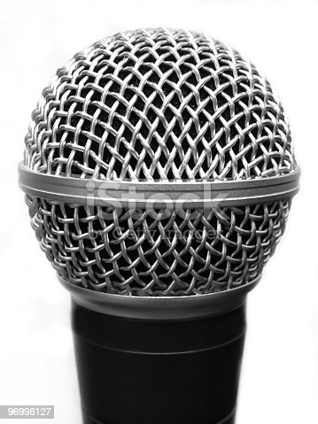 Grayscale Closeup of Microphone.
