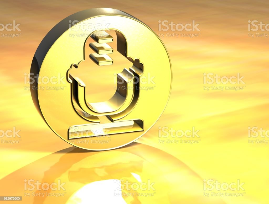 3D Microphone Gold Sign royalty-free stock photo