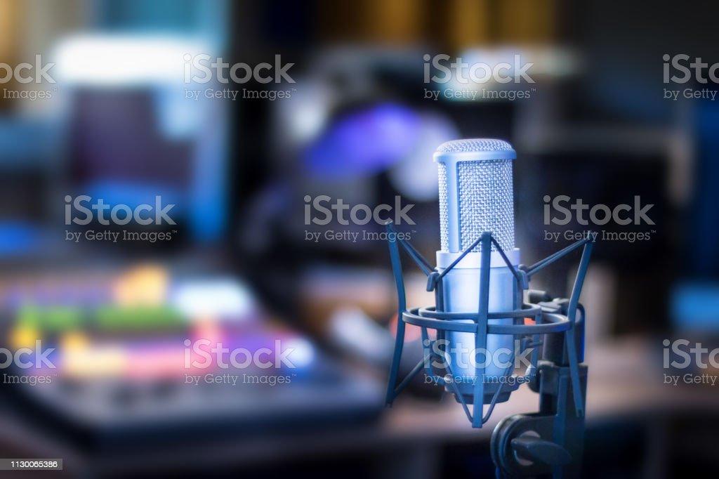 Professional studio microphone, recording studio, equipment in the...
