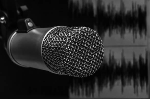 microphone in a radio Studio stock photo
