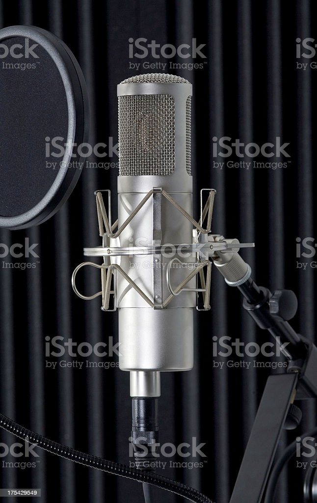 microphone in a recording studio royalty-free stock photo