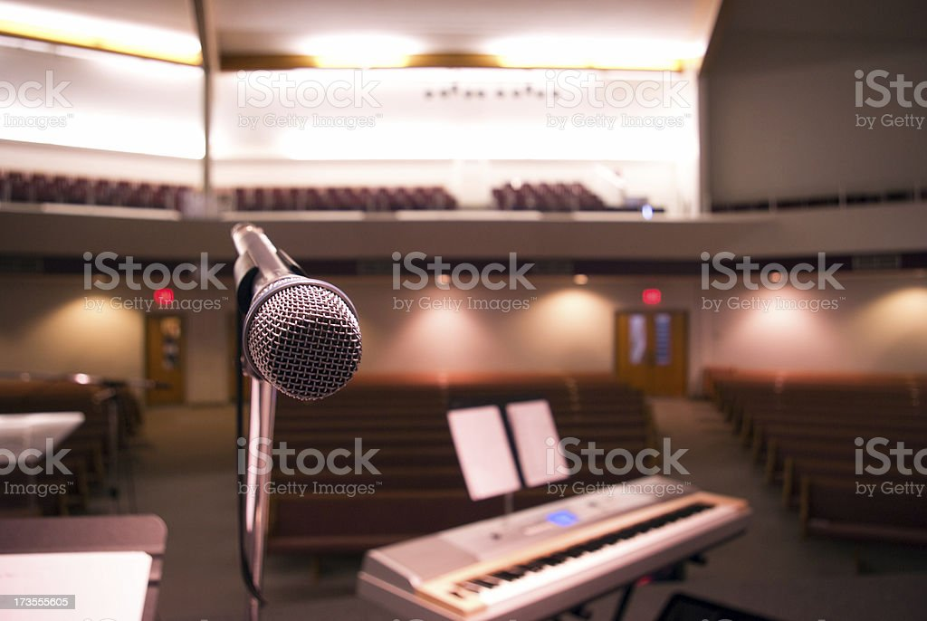 Microphone in Auditorium stock photo