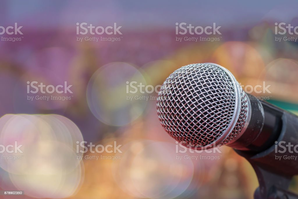 Microphone in blurred background stock photo