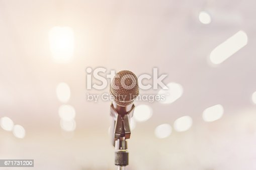 671733994 istock photo Microphone in Conference Seminar room Event Background 671731200