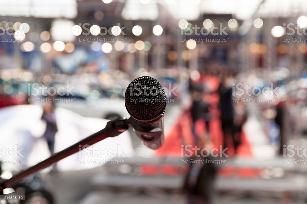 Microphone in focus against blurred background royalty-free stock photo
