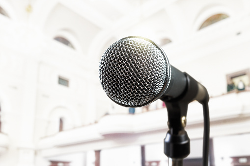 Microphone in magnificent old vaulted auditorium