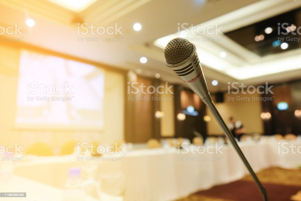 Microphone in meeting room for a conference or seminar room