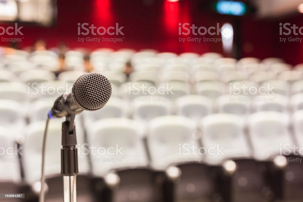 Microphone In Modern Conference Room stock photo