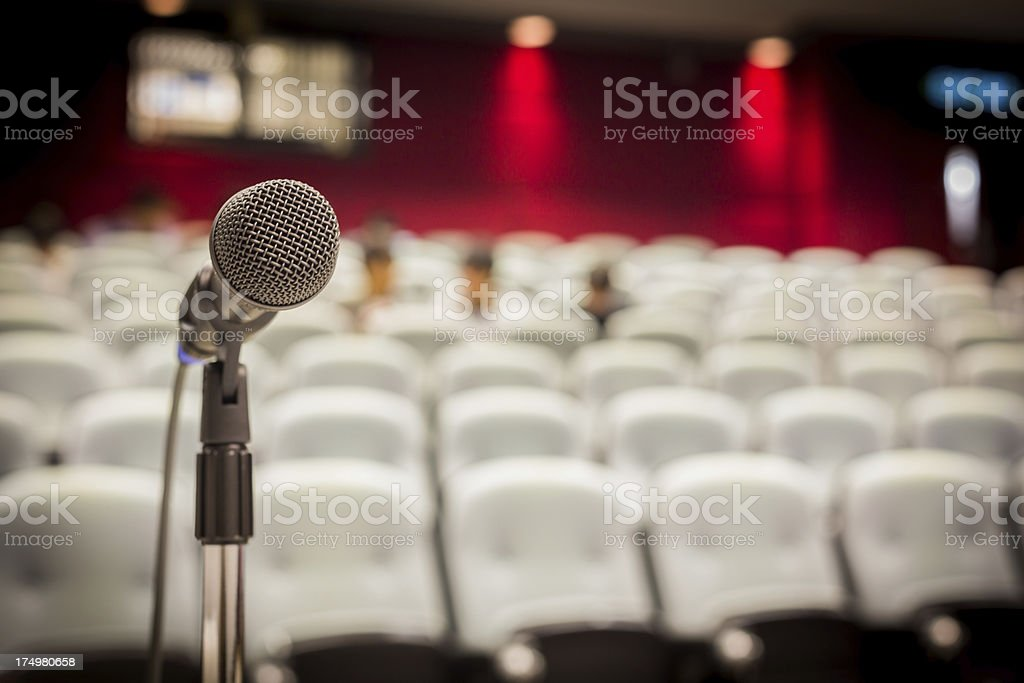 Microphone in Modern Lecture Hall royalty-free stock photo