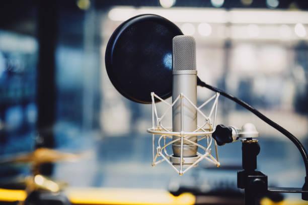 Microphone in radio station broadcasting studio,2017 stock photo