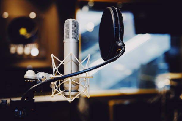 Microphone in radio station broadcasting studio,2017 stock photo