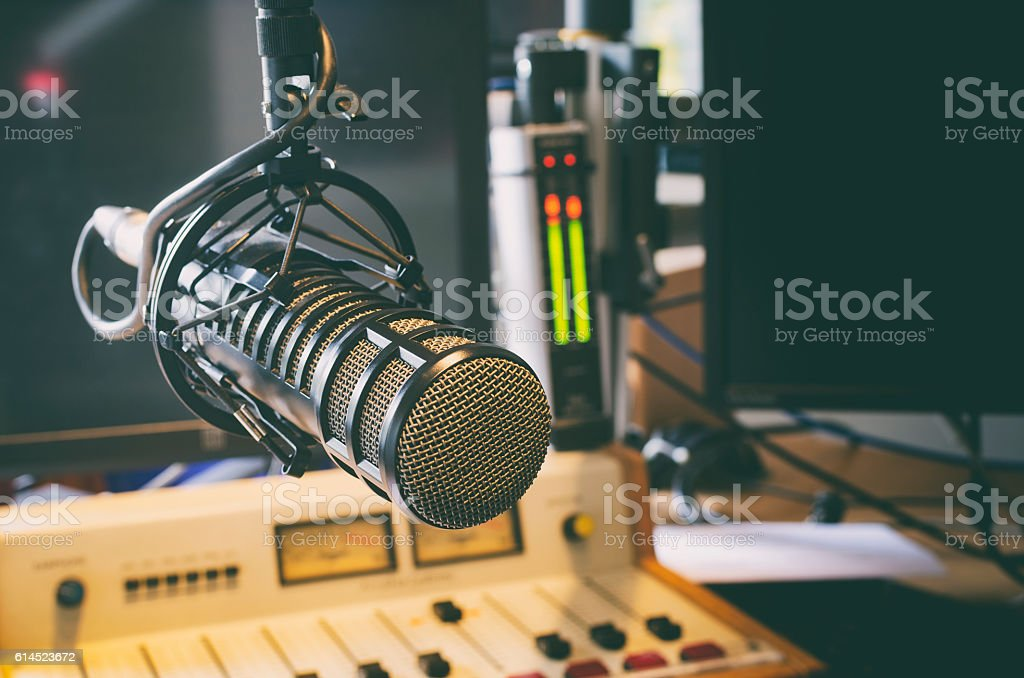 microphone in radio studio stock photo
