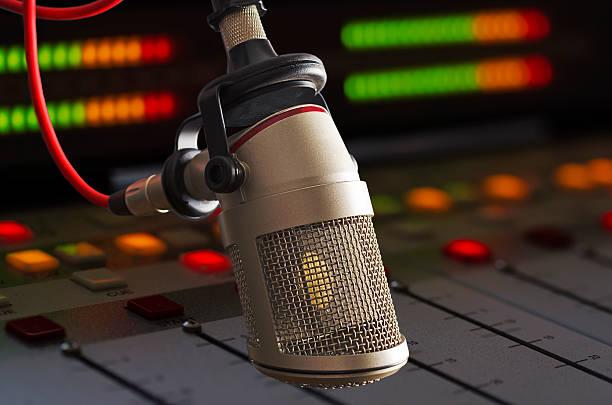 microphone in radio studio - radio dj stock photos and pictures