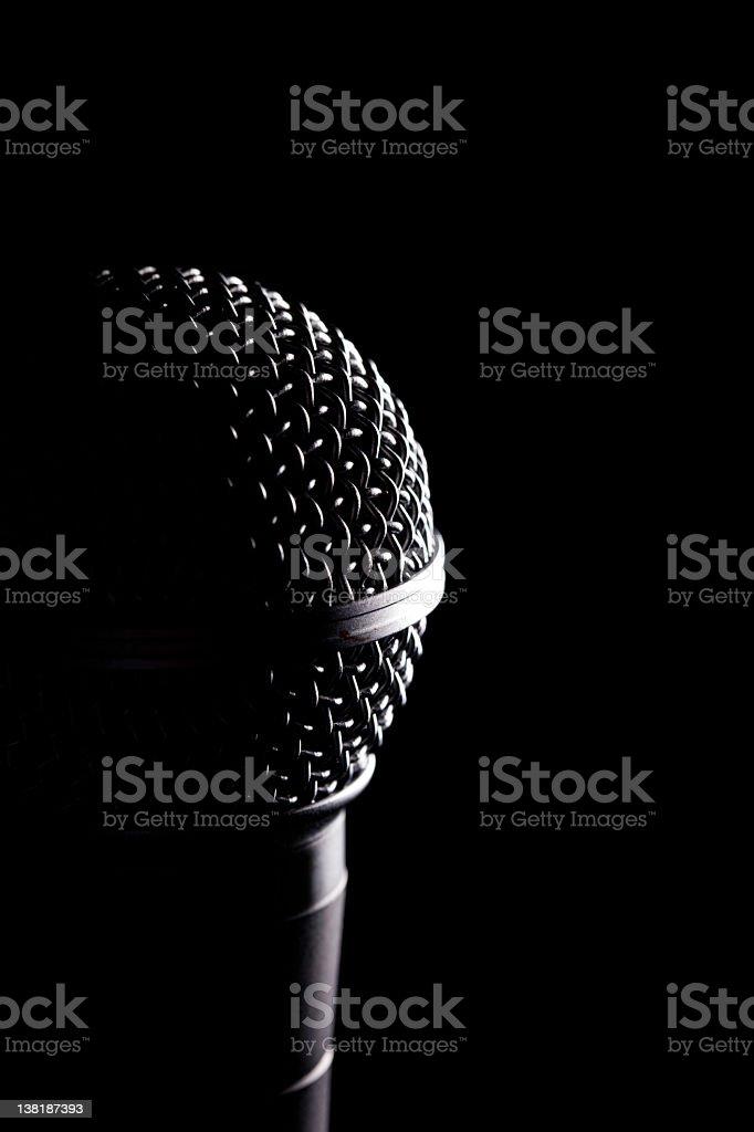 Microphone In The Dark stock photo