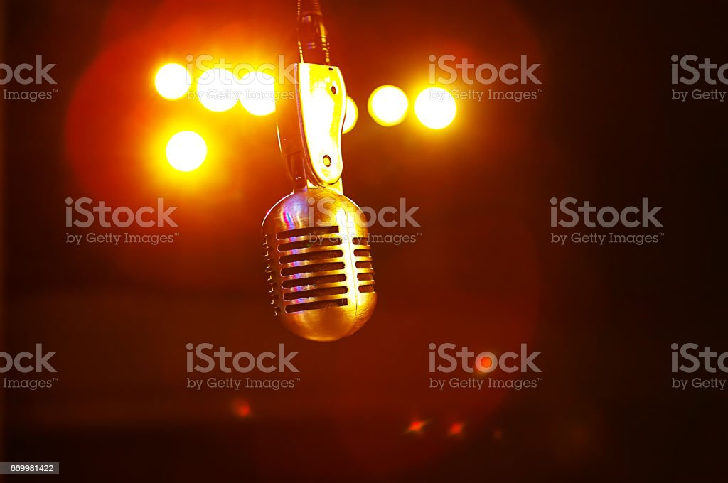 Microphone in the stage lights – Foto