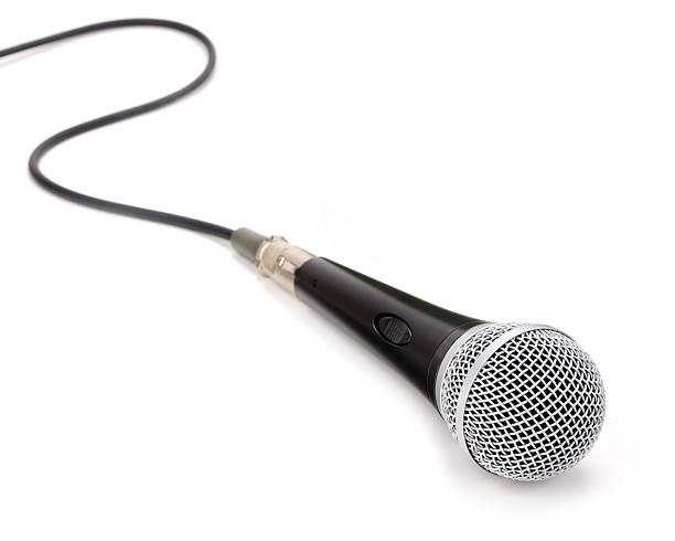 Microphone isolated on a white background stock photo