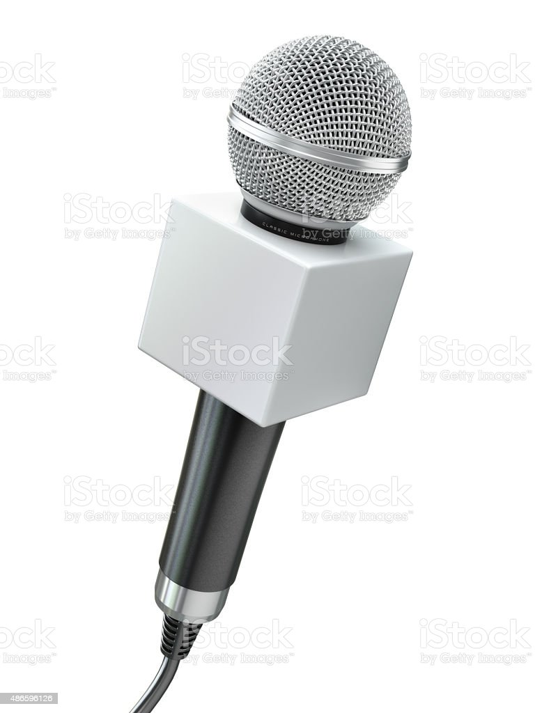 Microphone isolated on white. Caraoke or news concept. stock photo
