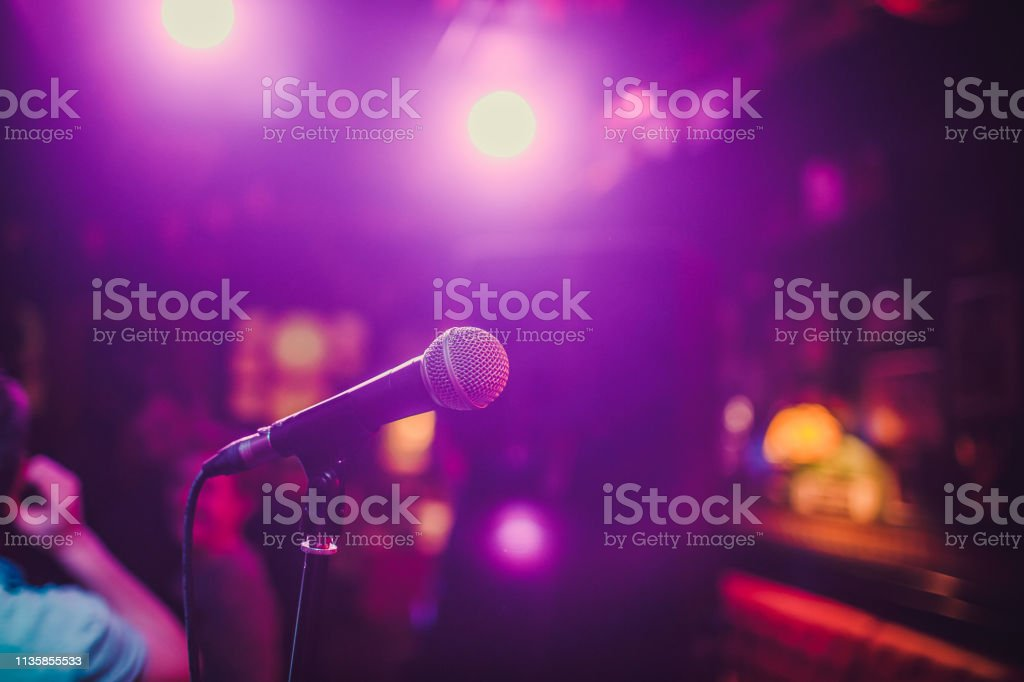 Microphone. Microphone close-up. A pub. Bar. A restaurant Classical...