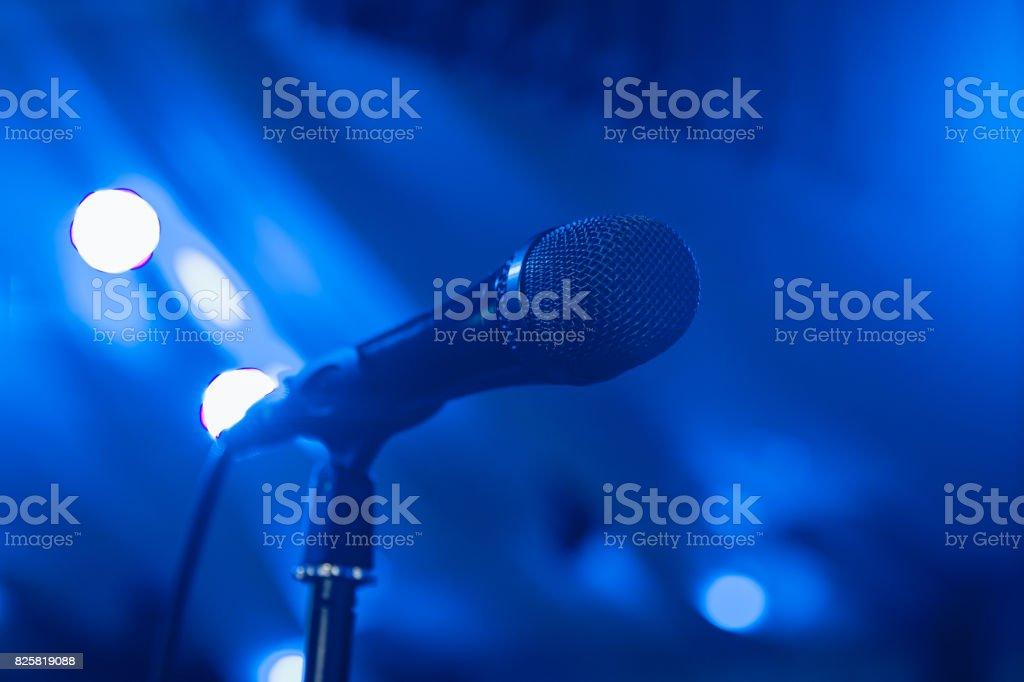 Microphone. Microphone on stage. Microphone close-up. A pub. Bar. A...