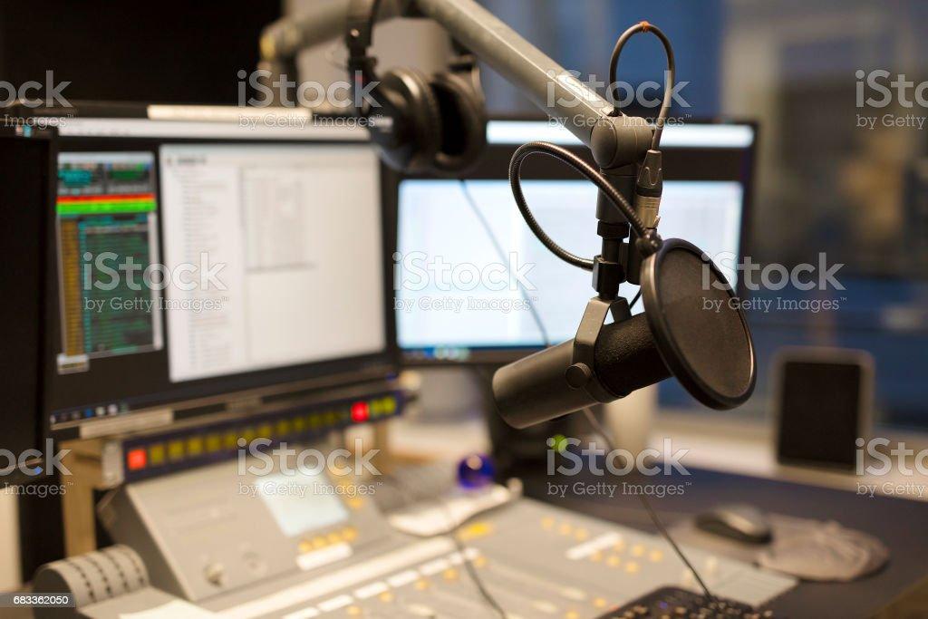 Microphone modern radio station broadcasting studio stock photo