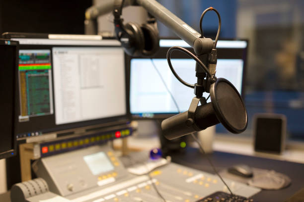 Microphone modern radio station broadcasting studio stock photo