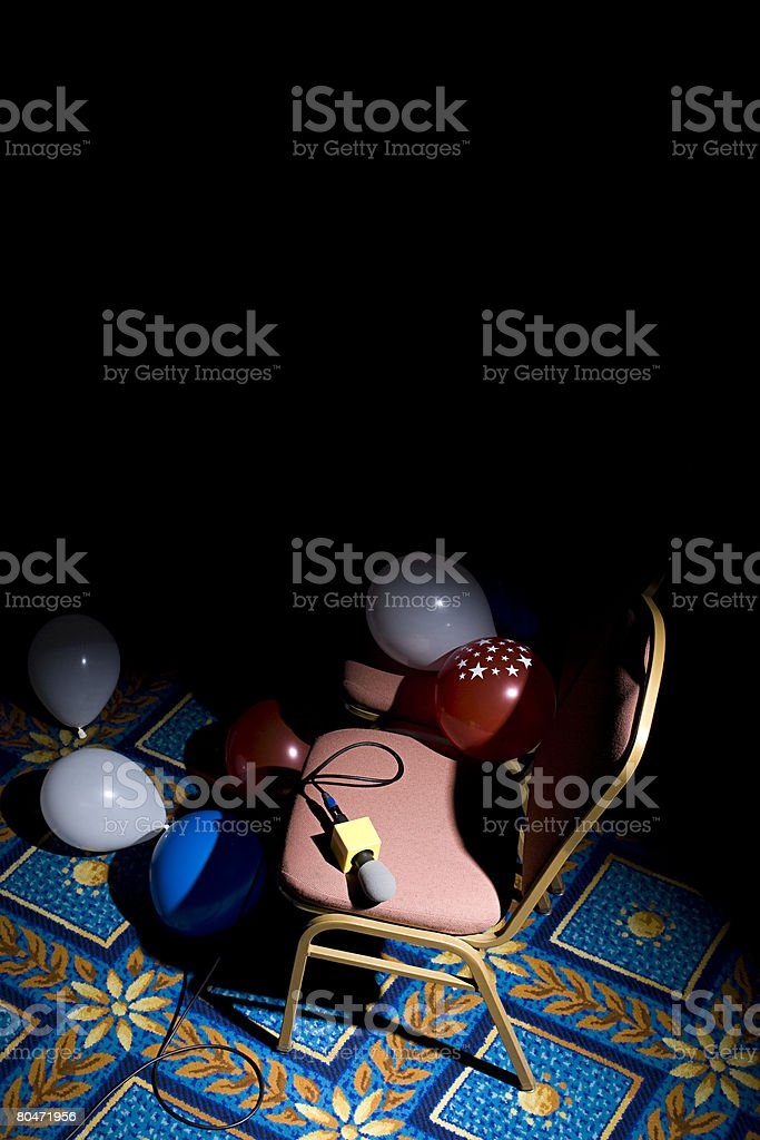 A microphone on a chair royalty-free stock photo