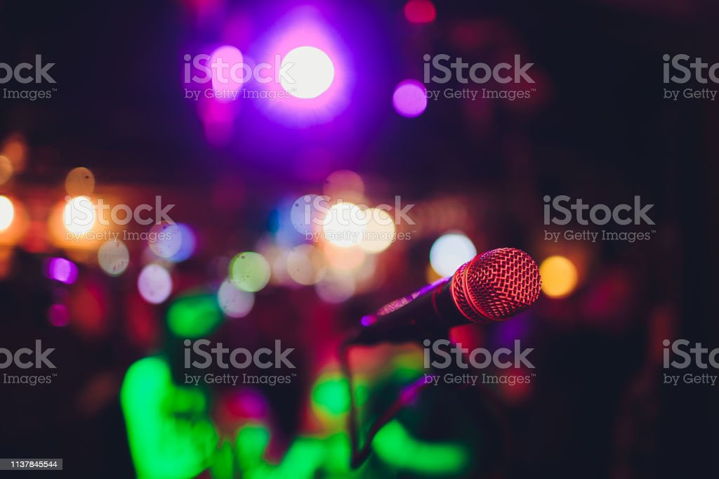 Microphone on a stand ready for live music performance or karaoke...