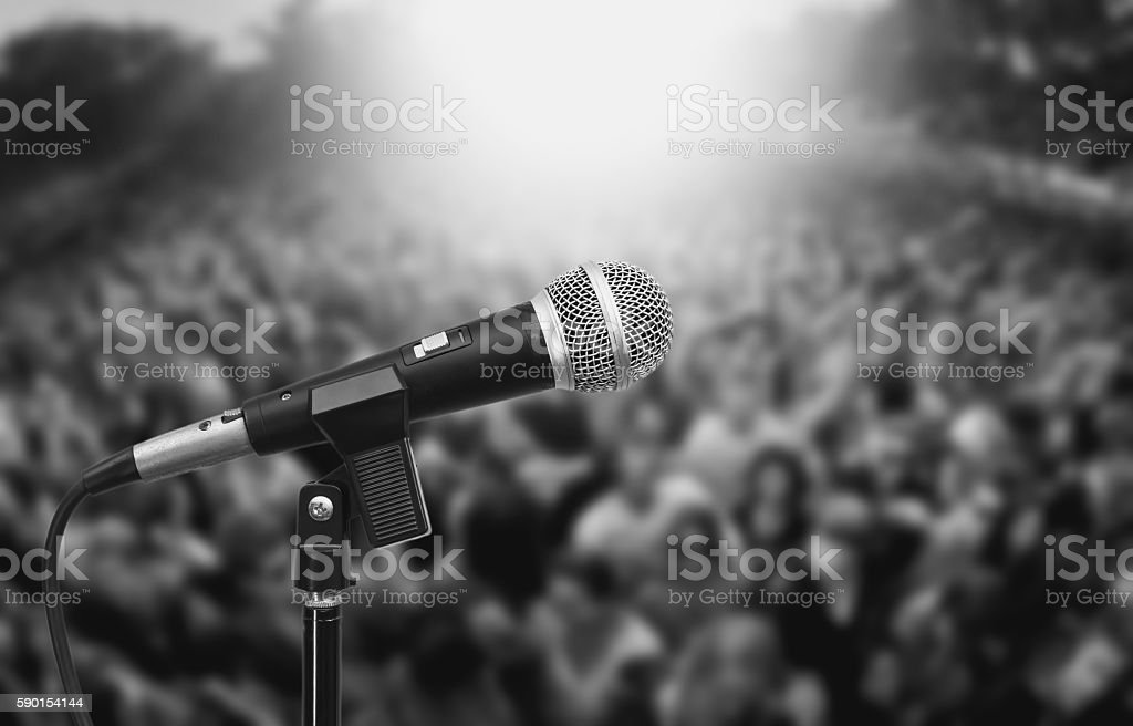 microphone on audience background stock photo