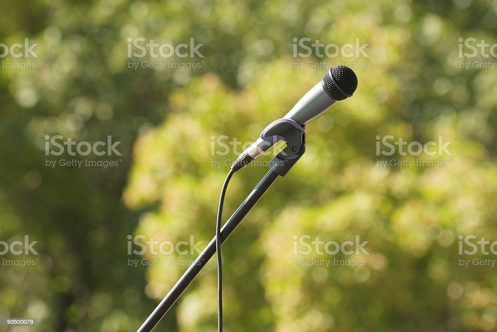 microphone on green background royalty-free stock photo
