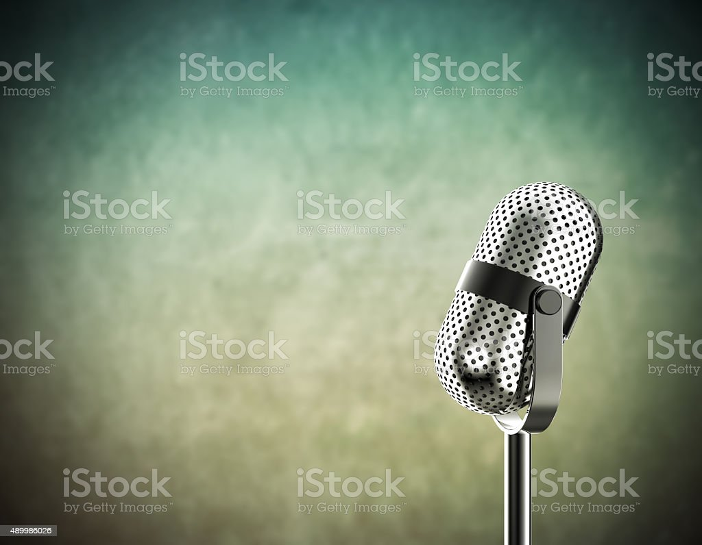 Microphone on green stock photo
