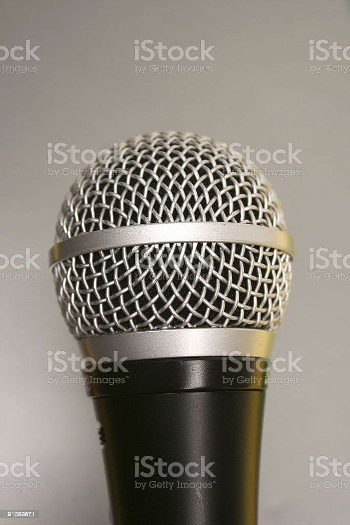 Microphone on grey royalty-free stock photo