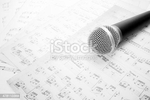 478117515 istock photo microphone on music sheet 478113359