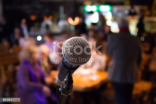 istock Microphone on rack close-up 653942272