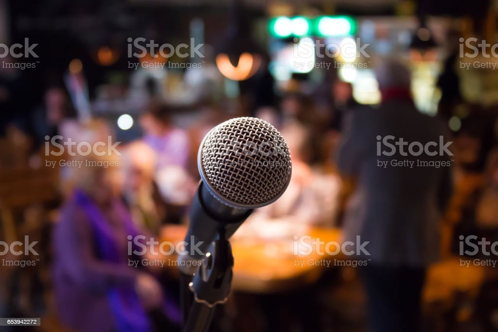 Microphone on rack close-up stock photo