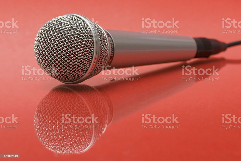 Microphone on red royalty-free stock photo