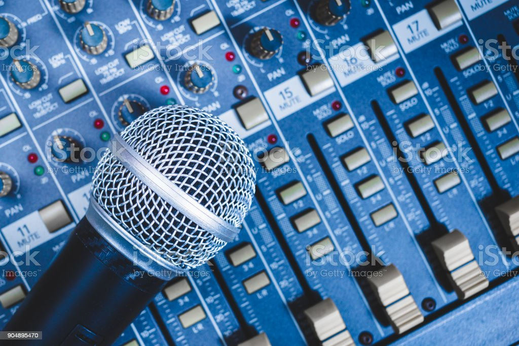 microphone on sound mixer, music background stock photo
