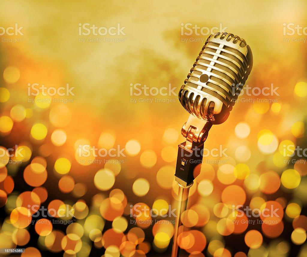 Microphone (Modern/Retro) on stage - defocused lights (XXL) royalty-free stock photo