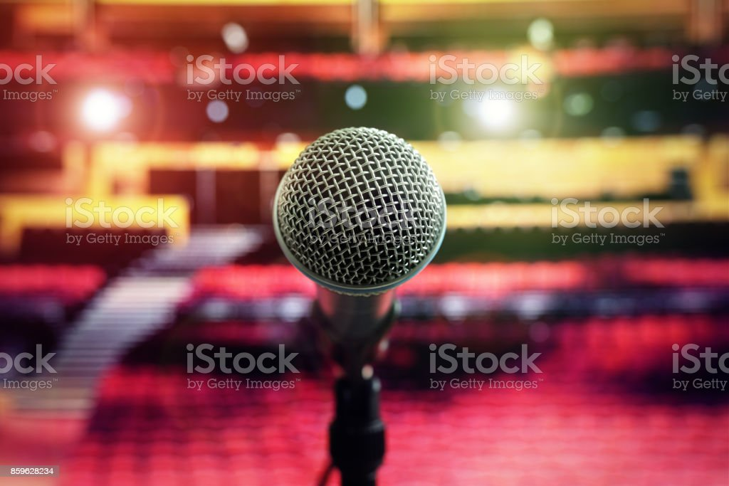 Microphone on stage in concert hall theater stock photo