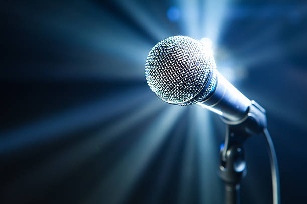 microphone on stage stock photo