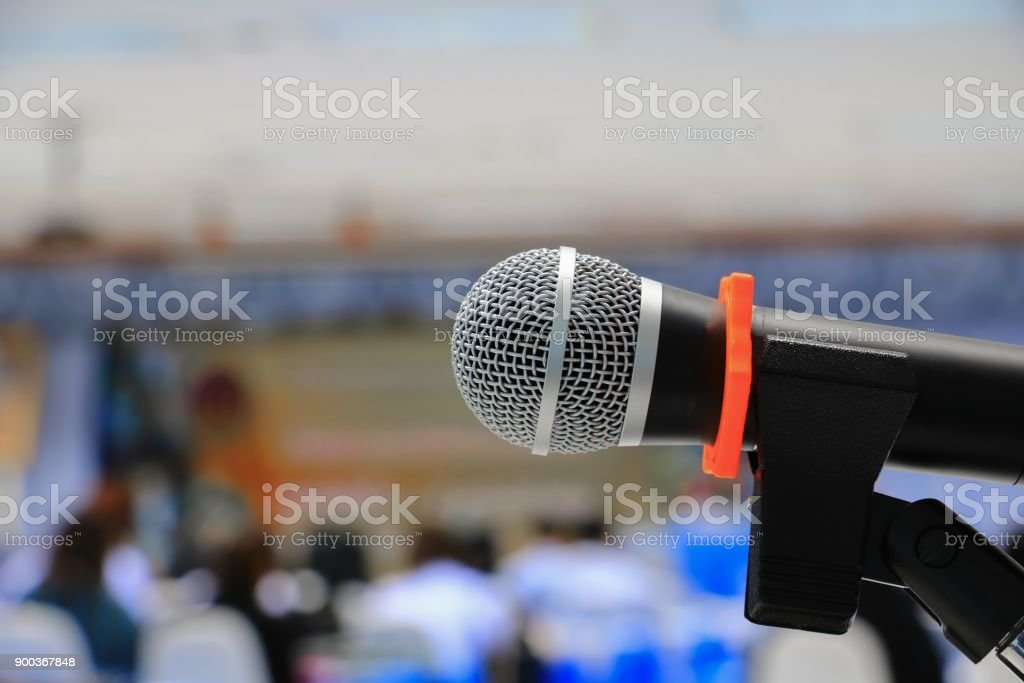microphone on stand Close up in conference room :Select focus with...