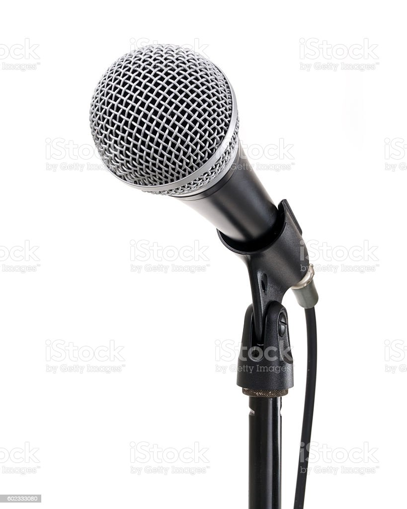 Microphone on stand contains clipping path стоковое фото